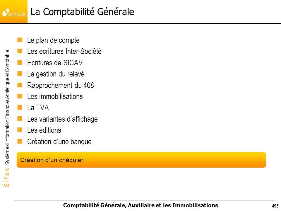 S i f a c Système dInformation Financier Analytique et Comptable Comptabilité Générale, Auxiliaire et les Immobilisations 493 La Comptabilité Générale