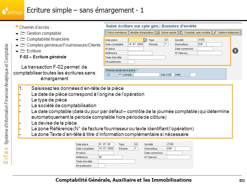 S i f a c Système dInformation Financier Analytique et Comptable Comptabilité Générale, Auxiliaire et les Immobilisations 503 Ecriture simple – sans é