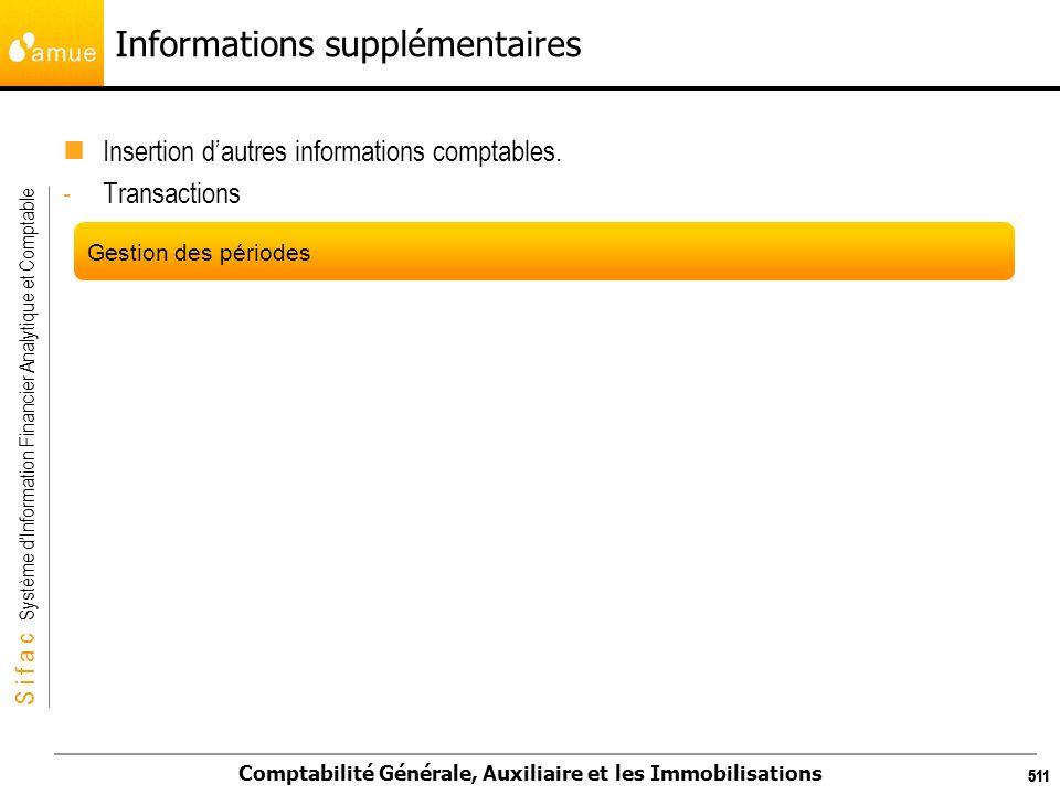 S i f a c Système dInformation Financier Analytique et Comptable Comptabilité Générale, Auxiliaire et les Immobilisations 511 Informations supplémenta
