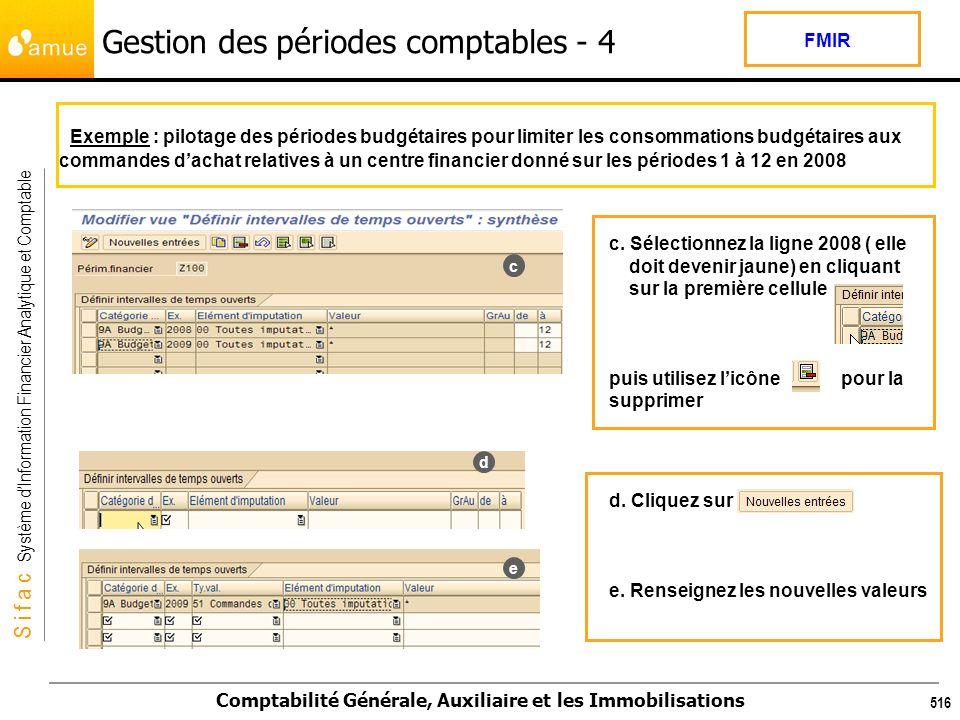 S i f a c Système dInformation Financier Analytique et Comptable Comptabilité Générale, Auxiliaire et les Immobilisations 516 Exemple : pilotage des p
