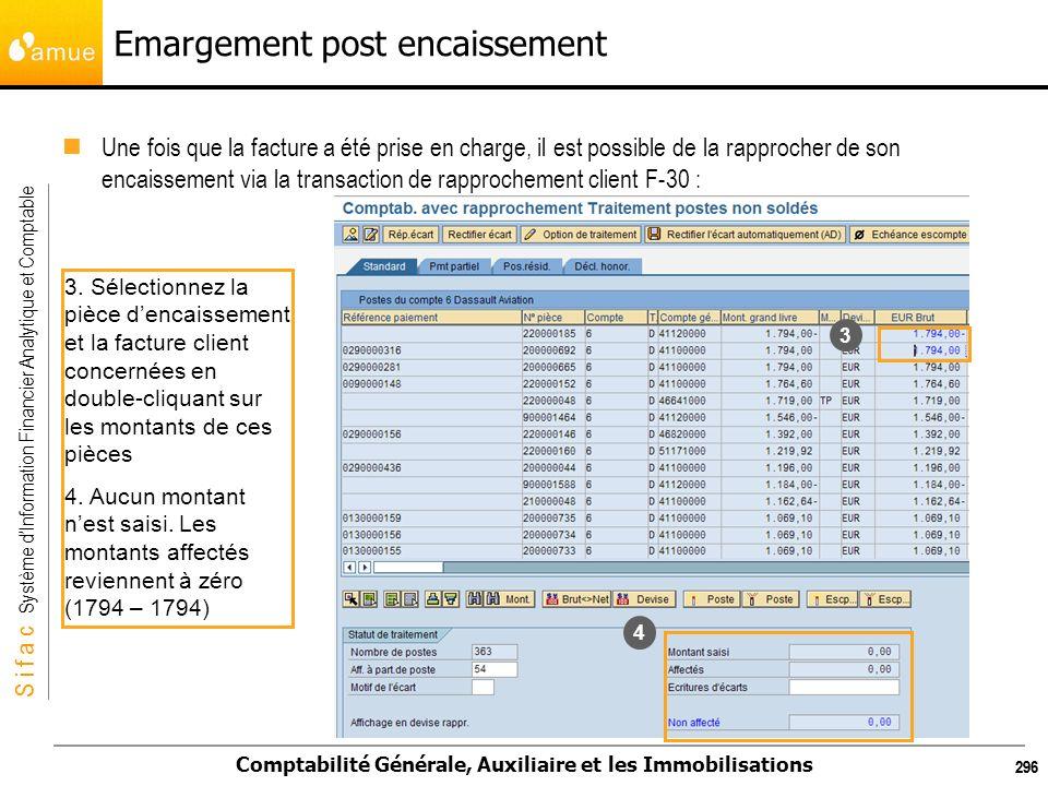 S i f a c Système dInformation Financier Analytique et Comptable Comptabilité Générale, Auxiliaire et les Immobilisations 296 Emargement post encaisse