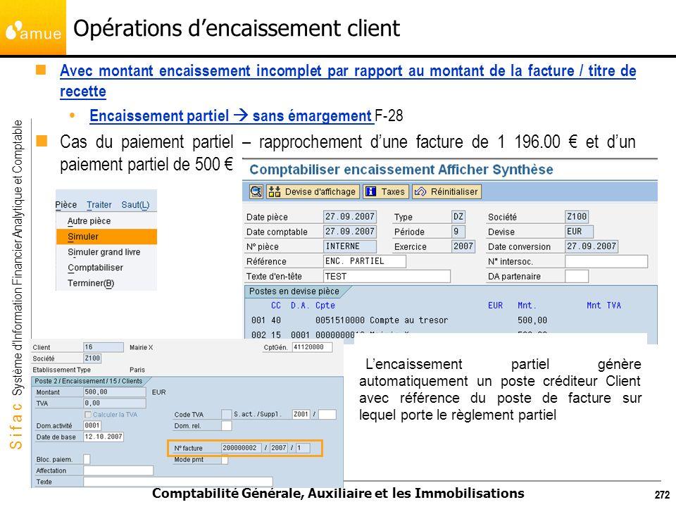 S i f a c Système dInformation Financier Analytique et Comptable Comptabilité Générale, Auxiliaire et les Immobilisations 272 Avec montant encaissemen