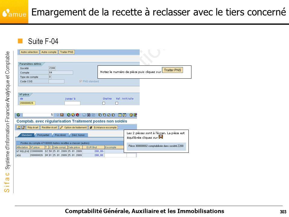 S i f a c Système dInformation Financier Analytique et Comptable Comptabilité Générale, Auxiliaire et les Immobilisations 303 Emargement de la recette