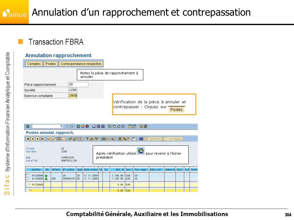 S i f a c Système dInformation Financier Analytique et Comptable Comptabilité Générale, Auxiliaire et les Immobilisations 304 Annulation dun rapproche