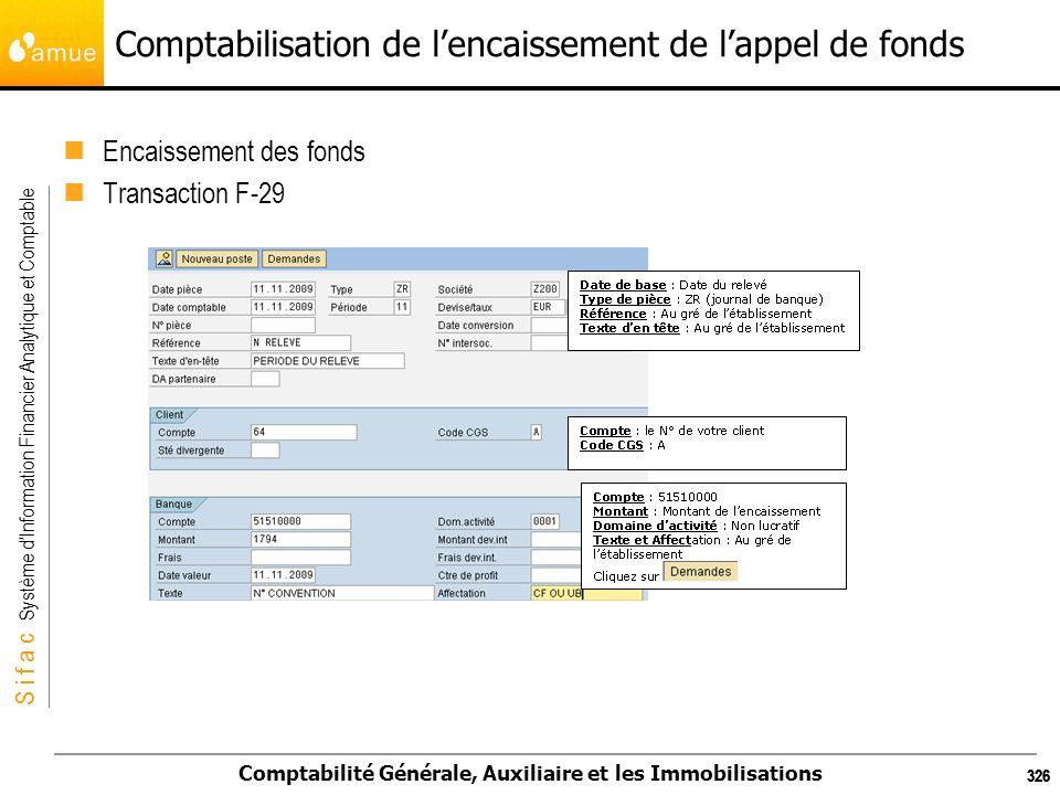 S i f a c Système dInformation Financier Analytique et Comptable Comptabilité Générale, Auxiliaire et les Immobilisations 326 Comptabilisation de lenc