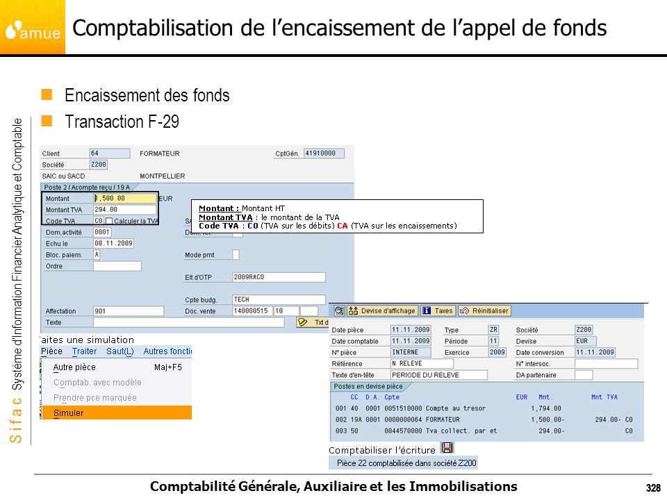 S i f a c Système dInformation Financier Analytique et Comptable Comptabilité Générale, Auxiliaire et les Immobilisations 328 Comptabilisation de lenc