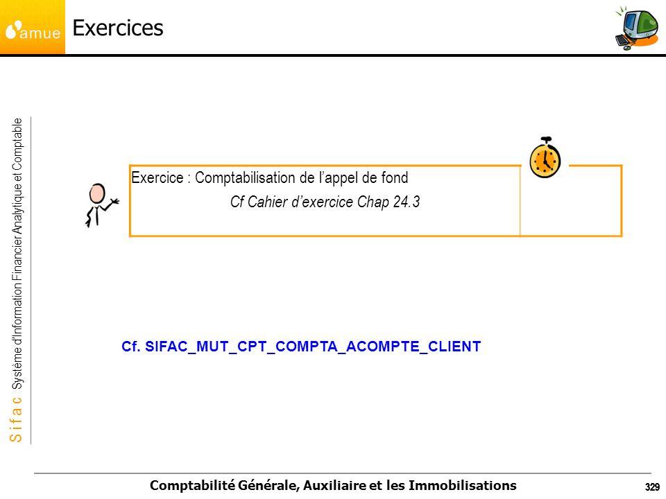 S i f a c Système dInformation Financier Analytique et Comptable Comptabilité Générale, Auxiliaire et les Immobilisations 329 Exercices Exercice : Com