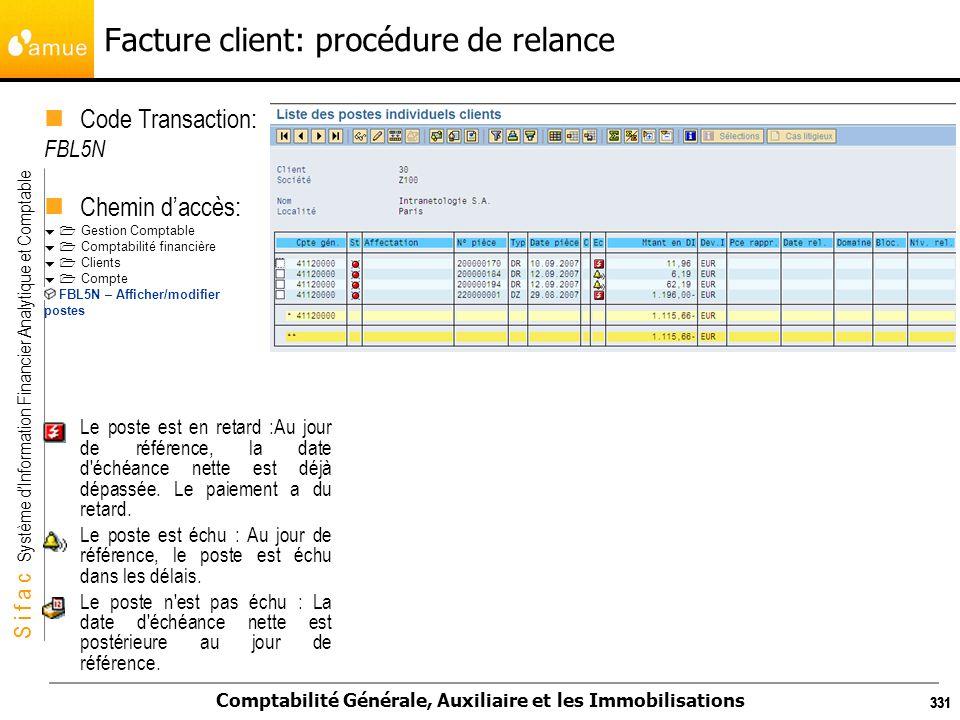 S i f a c Système dInformation Financier Analytique et Comptable Comptabilité Générale, Auxiliaire et les Immobilisations 331 Facture client: procédur