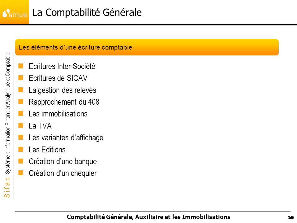 S i f a c Système dInformation Financier Analytique et Comptable Comptabilité Générale, Auxiliaire et les Immobilisations 345 La Comptabilité Générale