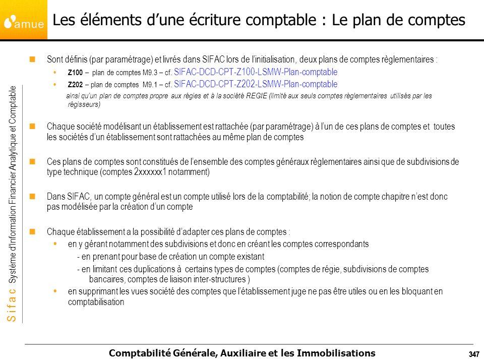 S i f a c Système dInformation Financier Analytique et Comptable Comptabilité Générale, Auxiliaire et les Immobilisations 347 Les éléments dune écritu