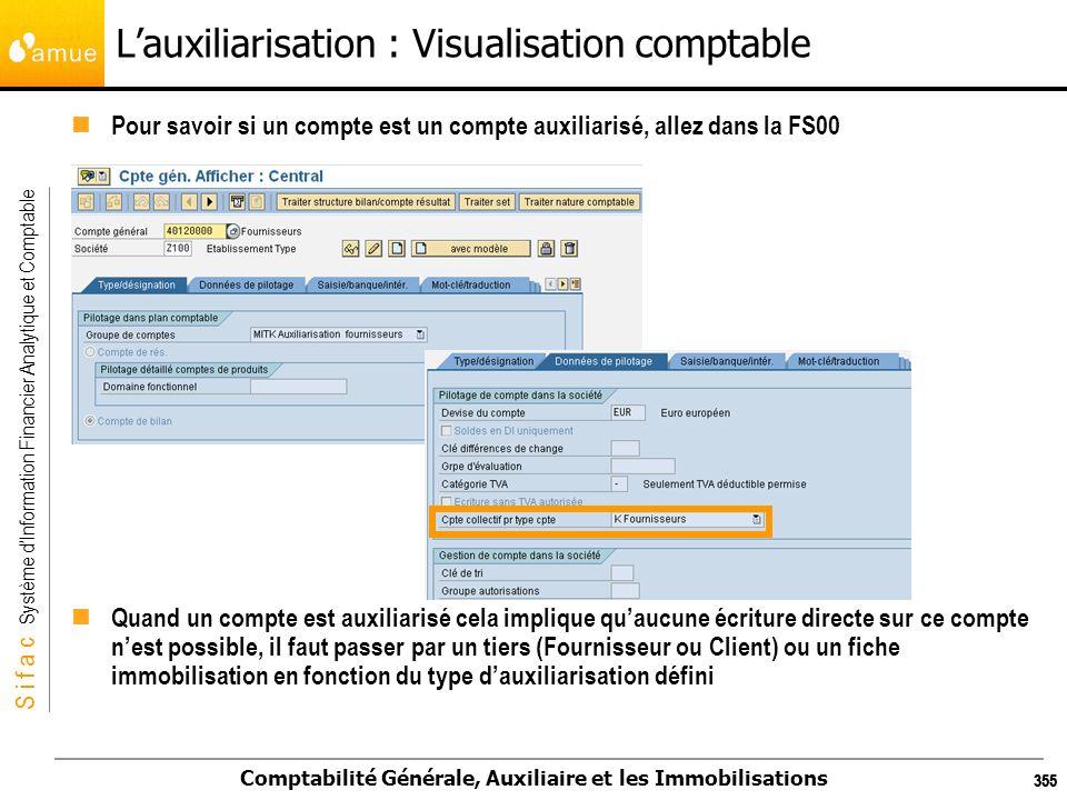 S i f a c Système dInformation Financier Analytique et Comptable Comptabilité Générale, Auxiliaire et les Immobilisations 355 Lauxiliarisation : Visua