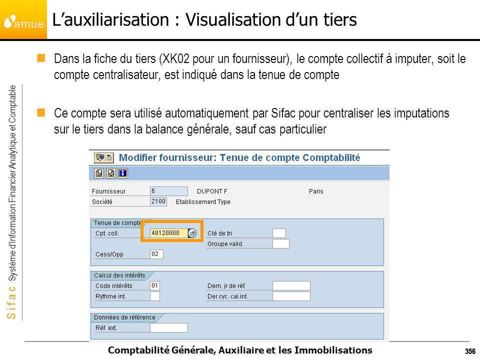 S i f a c Système dInformation Financier Analytique et Comptable Comptabilité Générale, Auxiliaire et les Immobilisations 356 Lauxiliarisation : Visua