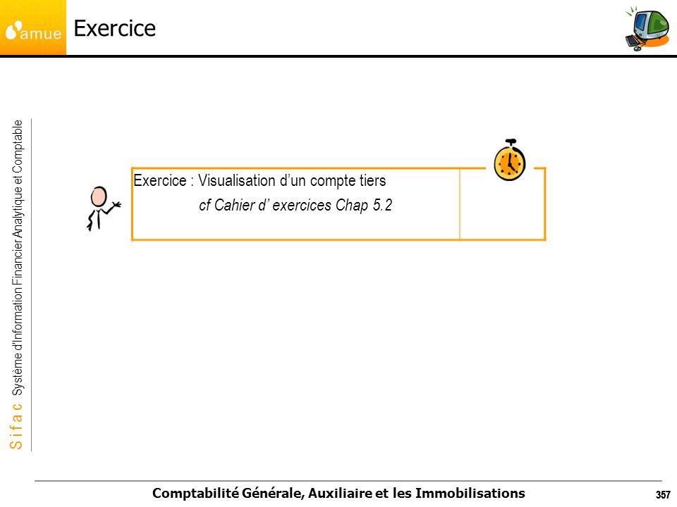 S i f a c Système dInformation Financier Analytique et Comptable Comptabilité Générale, Auxiliaire et les Immobilisations 357 Exercice Exercice : Visu
