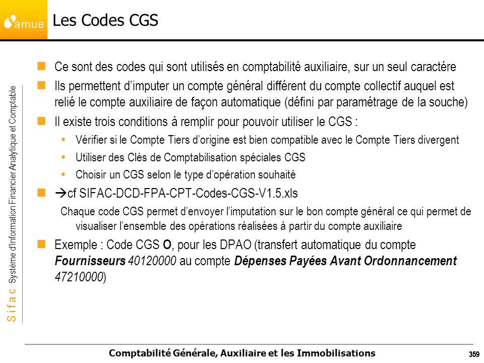 S i f a c Système dInformation Financier Analytique et Comptable Comptabilité Générale, Auxiliaire et les Immobilisations 359 Les Codes CGS Ce sont de