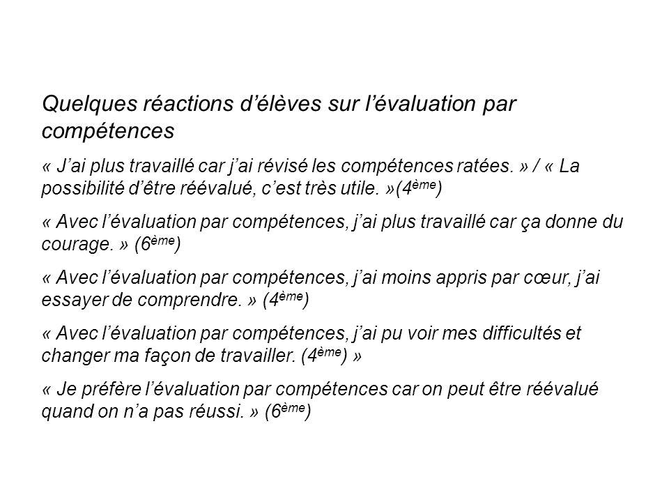Quelques réactions délèves sur lévaluation par compétences « Jai plus travaillé car jai révisé les compétences ratées.