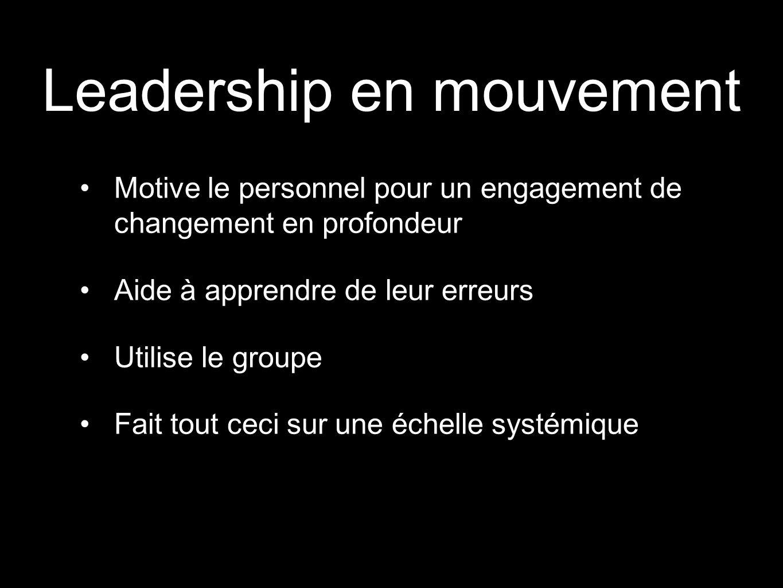 Leadership en mouvement Motive le personnel pour un engagement de changement en profondeur Aide à apprendre de leur erreurs Utilise le groupe Fait tou
