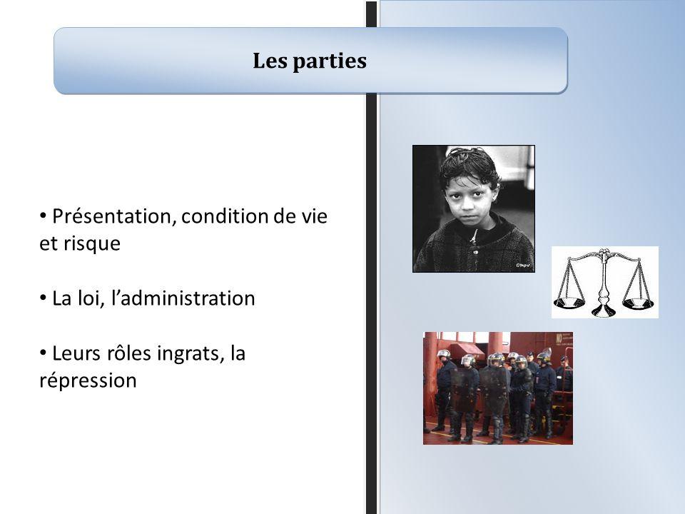 Les parties Présentation, condition de vie et risque La loi, ladministration Leurs rôles ingrats, la répression