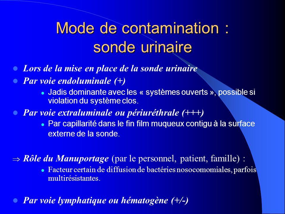 Facteurs favorisants : sonde urinaire Altérations des moyens de défense vésicale : Par action mécanique sur lendothélium et la couche de mucopolysaccharides acides.