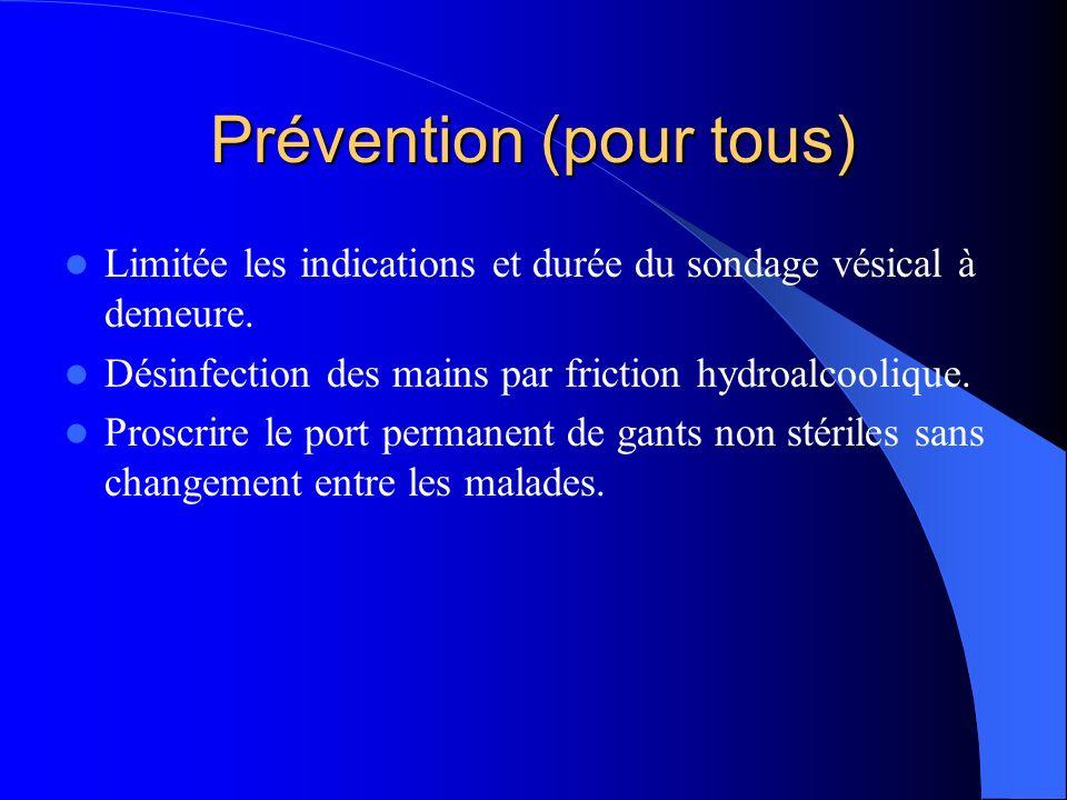 Prévention (sonde urinaire) Système clos.Pose asepsique des sondes à demeure.