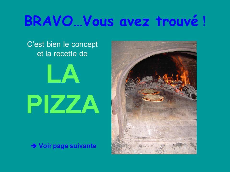 BRAVO…Vous avez trouvé ! Cest bien le concept et la recette de LA PIZZA Voir page suivante