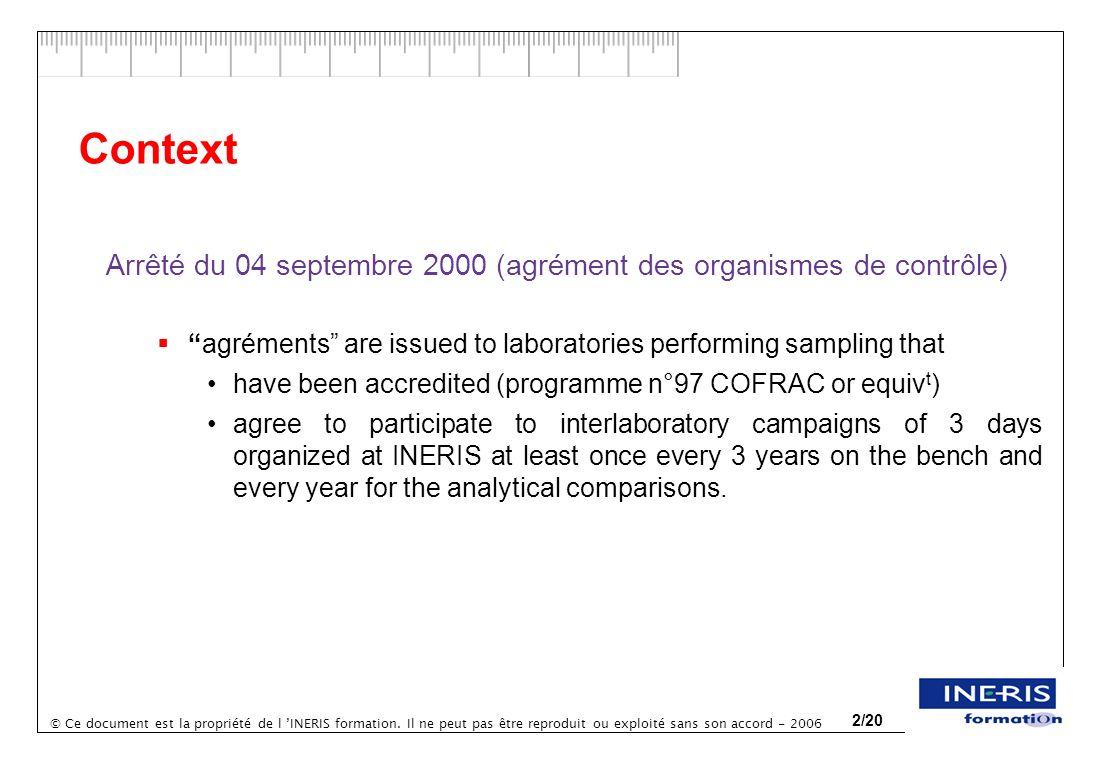 © Ce document est la propriété de l INERIS formation. Il ne peut pas être reproduit ou exploité sans son accord - 2006 2/20 Context Arrêté du 04 septe