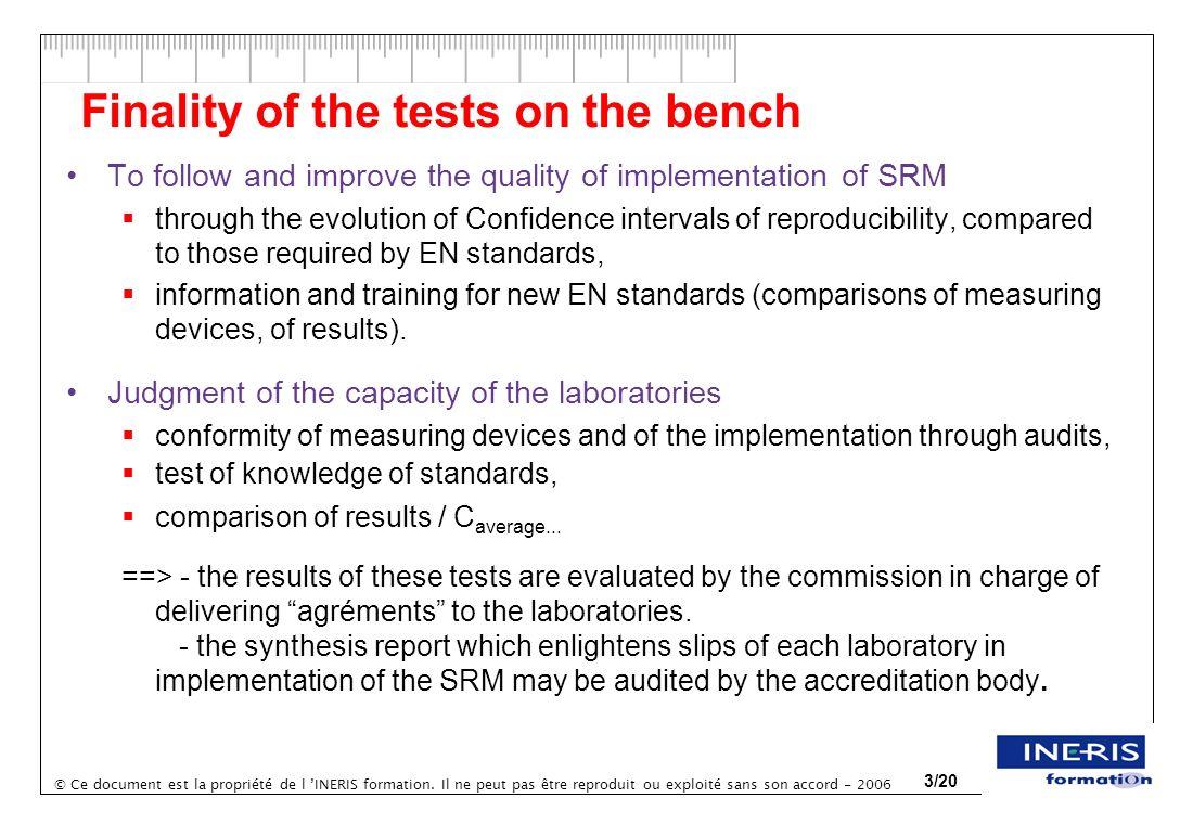 © Ce document est la propriété de l INERIS formation. Il ne peut pas être reproduit ou exploité sans son accord - 2006 3/20 Finality of the tests on t