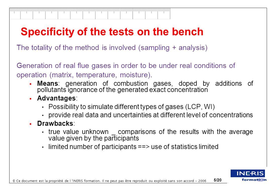 © Ce document est la propriété de l INERIS formation. Il ne peut pas être reproduit ou exploité sans son accord - 2006 5/20 Specificity of the tests o