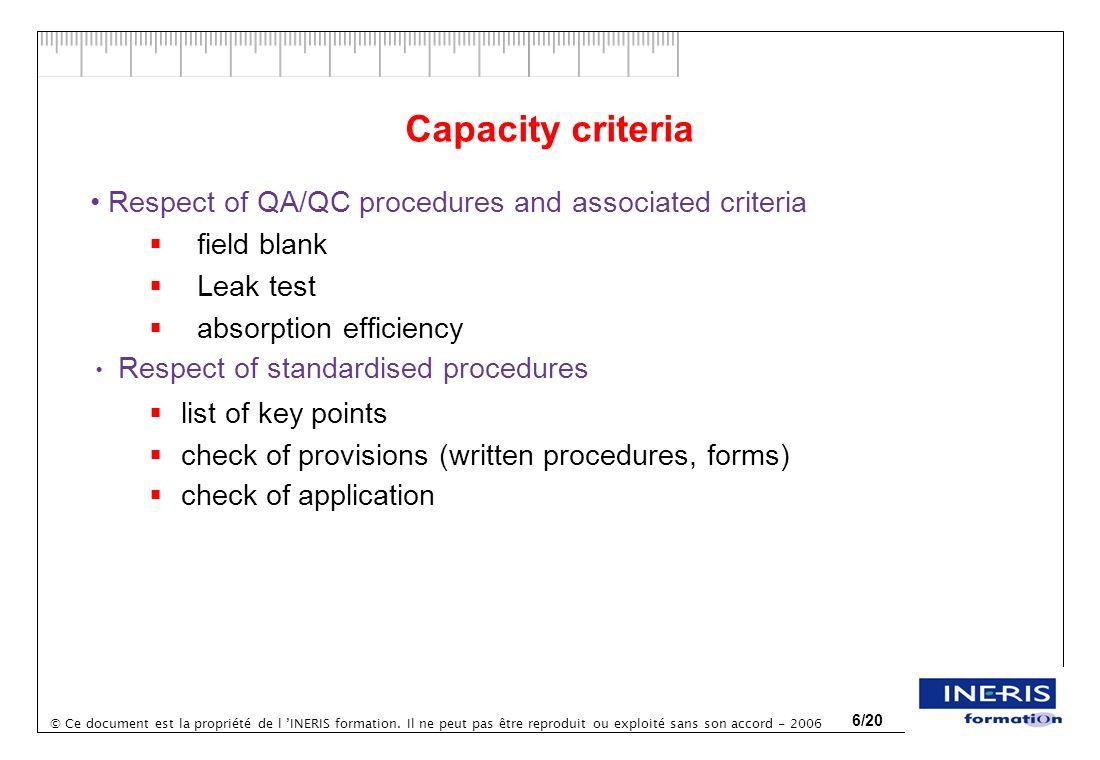 © Ce document est la propriété de l INERIS formation. Il ne peut pas être reproduit ou exploité sans son accord - 2006 6/20 Capacity criteria Respect