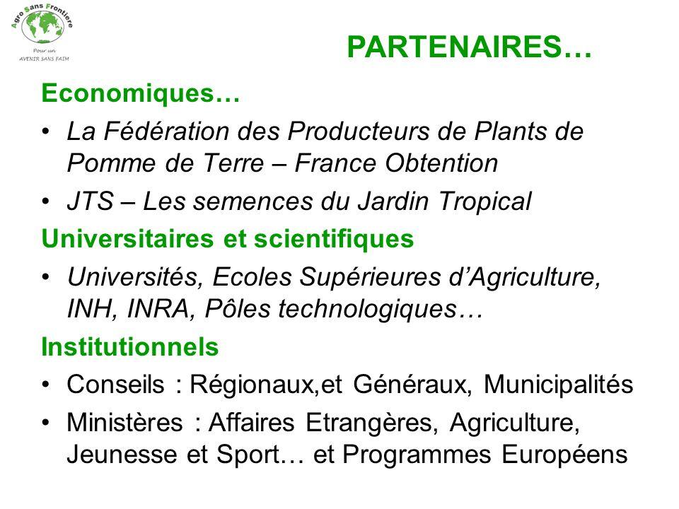 Economiques… La Fédération des Producteurs de Plants de Pomme de Terre – France Obtention JTS – Les semences du Jardin Tropical Universitaires et scie