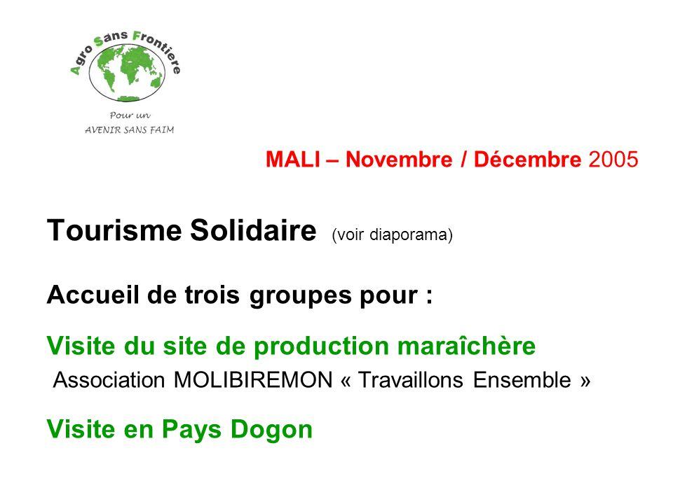 MALI – Novembre / Décembre 2005 Tourisme Solidaire (voir diaporama) Accueil de trois groupes pour : Visite du site de production maraîchère Associatio
