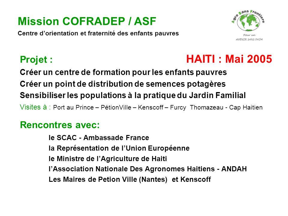 Projet : HAITI : Mai 2005 Créer un centre de formation pour les enfants pauvres Créer un point de distribution de semences potagères Sensibiliser les