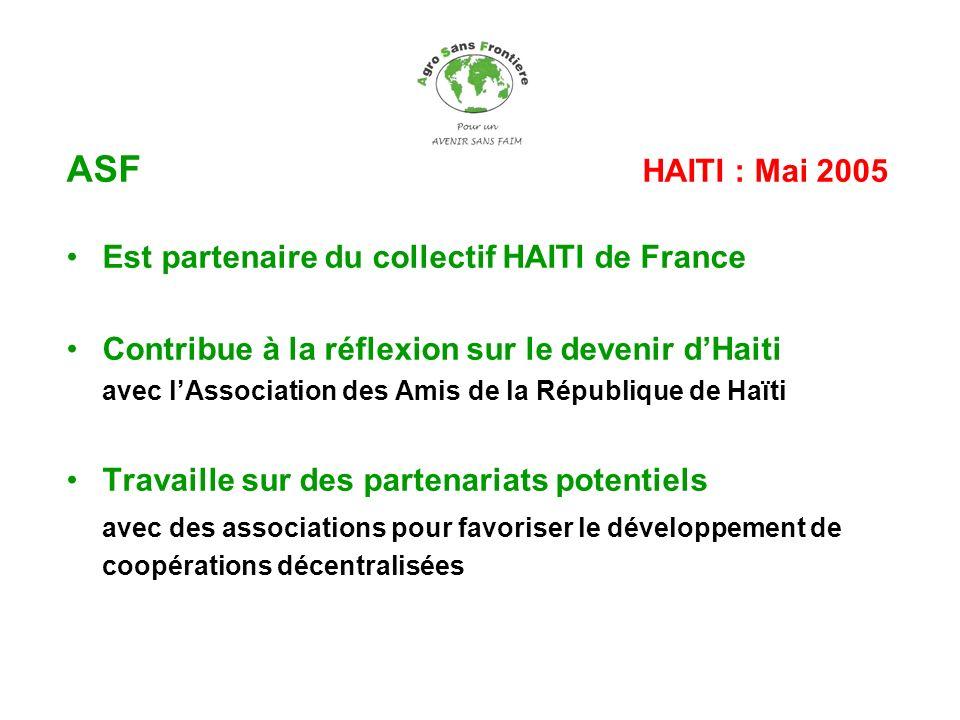 ASF HAITI : Mai 2005 Est partenaire du collectif HAITI de France Contribue à la réflexion sur le devenir dHaiti avec lAssociation des Amis de la Répub