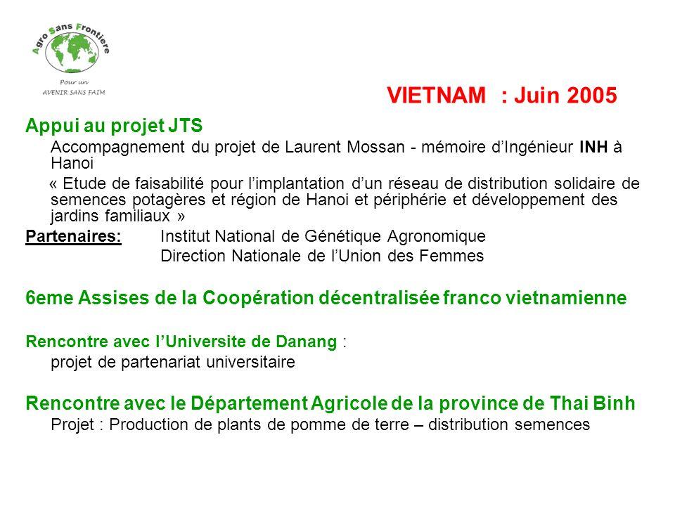 Appui au projet JTS Accompagnement du projet de Laurent Mossan - mémoire dIngénieur INH à Hanoi « Etude de faisabilité pour limplantation dun réseau d