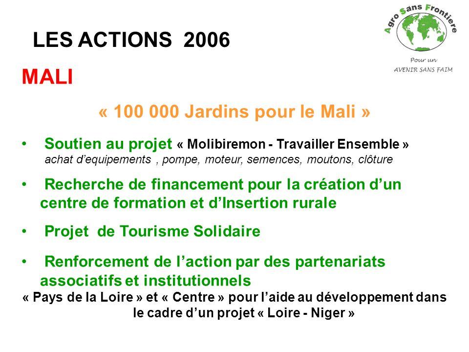 LES ACTIONS 2006 MALI « 100 000 Jardins pour le Mali » Soutien au projet « Molibiremon - Travailler Ensemble » achat dequipements, pompe, moteur, seme