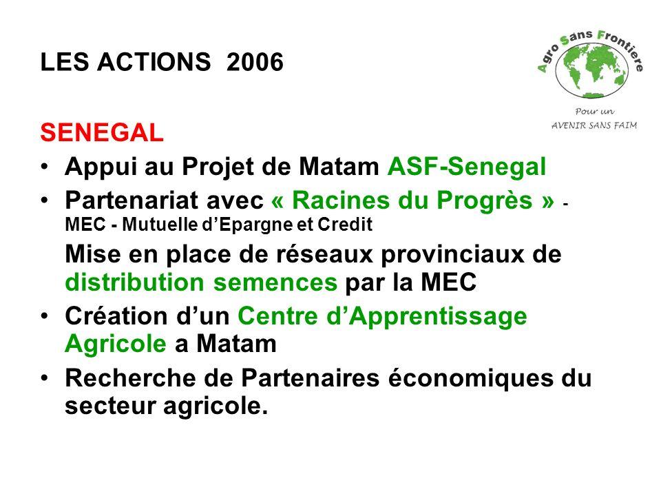 LES ACTIONS 2006 SENEGAL Appui au Projet de Matam ASF-Senegal Partenariat avec « Racines du Progrès » - MEC - Mutuelle dEpargne et Credit Mise en plac