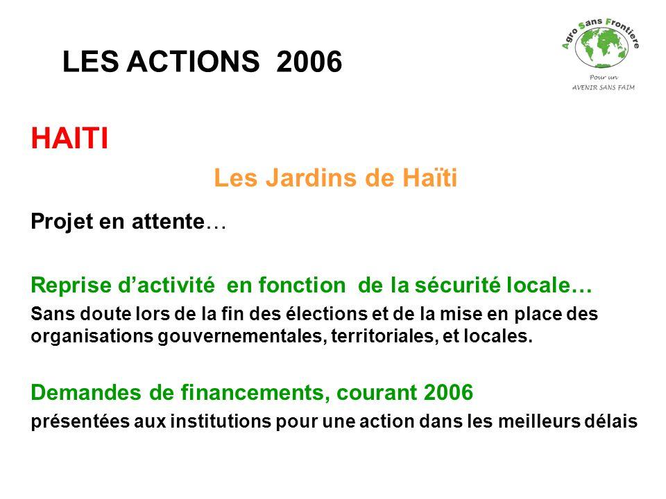 HAITI Les Jardins de Haïti Projet en attente… Reprise dactivité en fonction de la sécurité locale… Sans doute lors de la fin des élections et de la mi