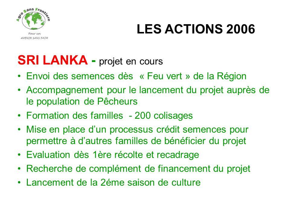 SRI LANKA - projet en cours Envoi des semences dès « Feu vert » de la Région Accompagnement pour le lancement du projet auprès de le population de Pêc