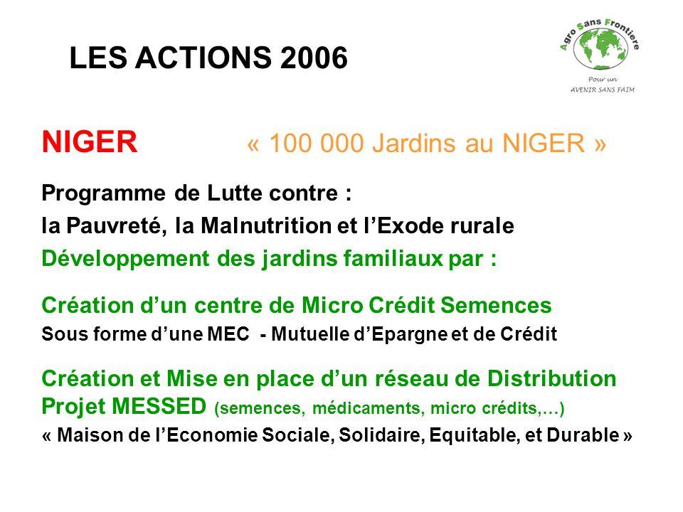 NIGER « 100 000 Jardins au NIGER » Programme de Lutte contre : la Pauvreté, la Malnutrition et lExode rurale Développement des jardins familiaux par :