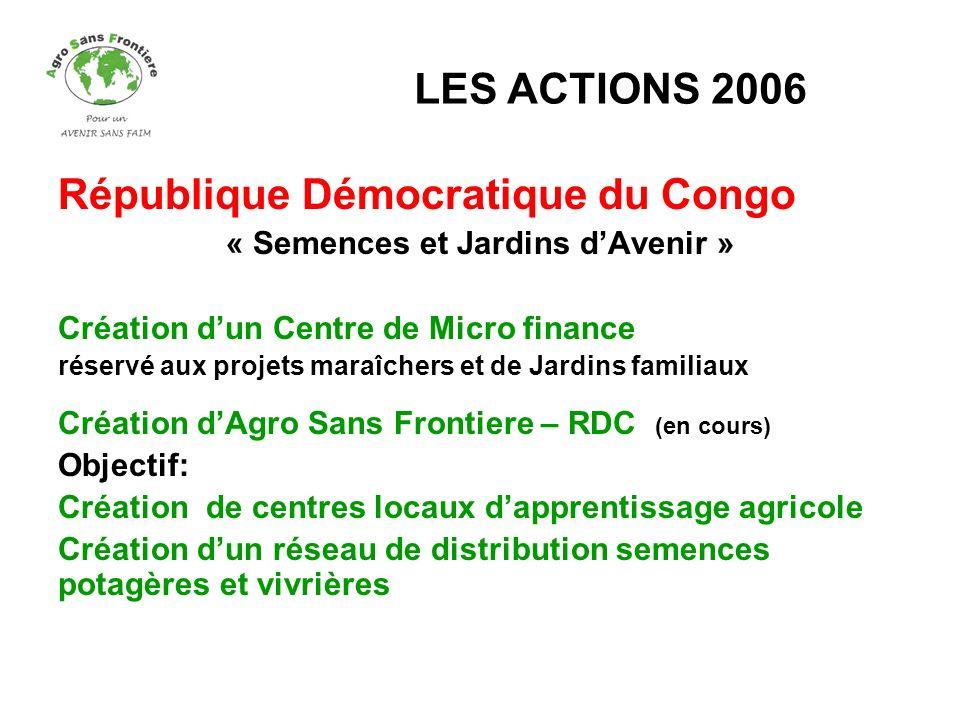 République Démocratique du Congo « Semences et Jardins dAvenir » Création dun Centre de Micro finance réservé aux projets maraîchers et de Jardins fam