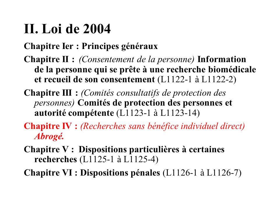 II. Loi de 2004 Chapitre Ier : Principes généraux Chapitre II : (Consentement de la personne) Information de la personne qui se prête à une recherche