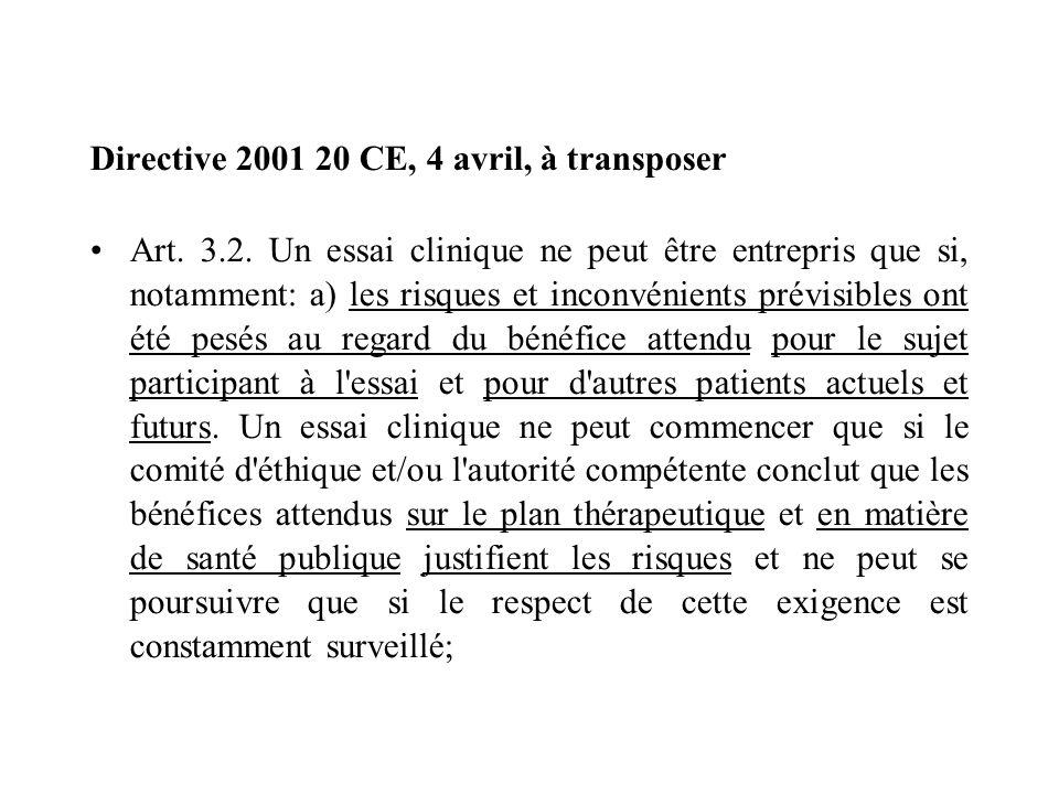 Directive 2001 20 CE, 4 avril, à transposer Art. 3.2. Un essai clinique ne peut être entrepris que si, notamment: a) les risques et inconvénients prév