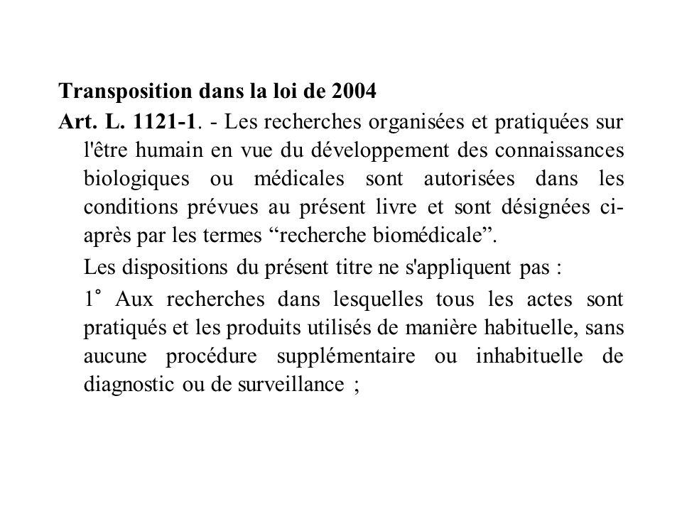Transposition dans la loi de 2004 Art. L. 1121-1. - Les recherches organisées et pratiquées sur l'être humain en vue du développement des connaissance