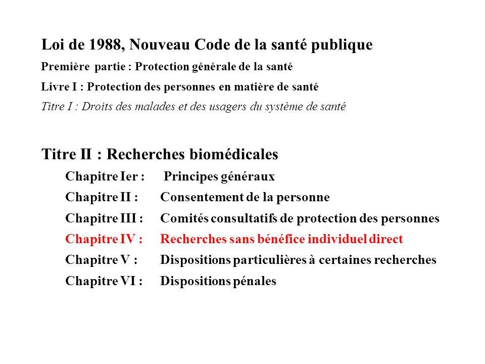 Loi de 1988, Nouveau Code de la santé publique Première partie : Protection générale de la santé Livre I : Protection des personnes en matière de sant