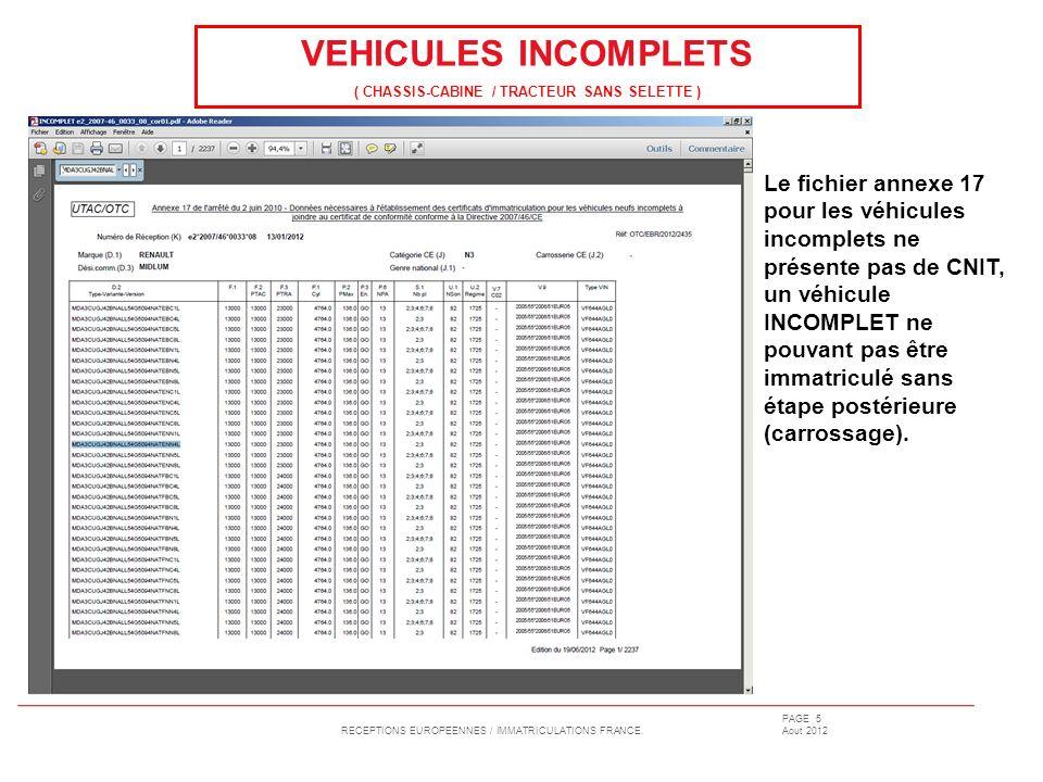 RECEPTIONS EUROPEENNES / IMMATRICULATIONS FRANCE. PAGE 5 Aout 2012 Le fichier annexe 17 pour les véhicules incomplets ne présente pas de CNIT, un véhi