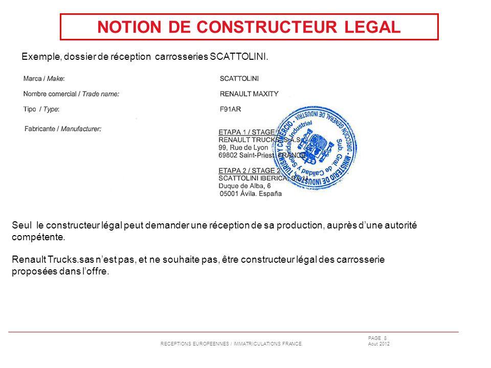 RECEPTIONS EUROPEENNES / IMMATRICULATIONS FRANCE. PAGE 8 Aout 2012 NOTION DE CONSTRUCTEUR LEGAL Exemple, dossier de réception carrosseries SCATTOLINI.