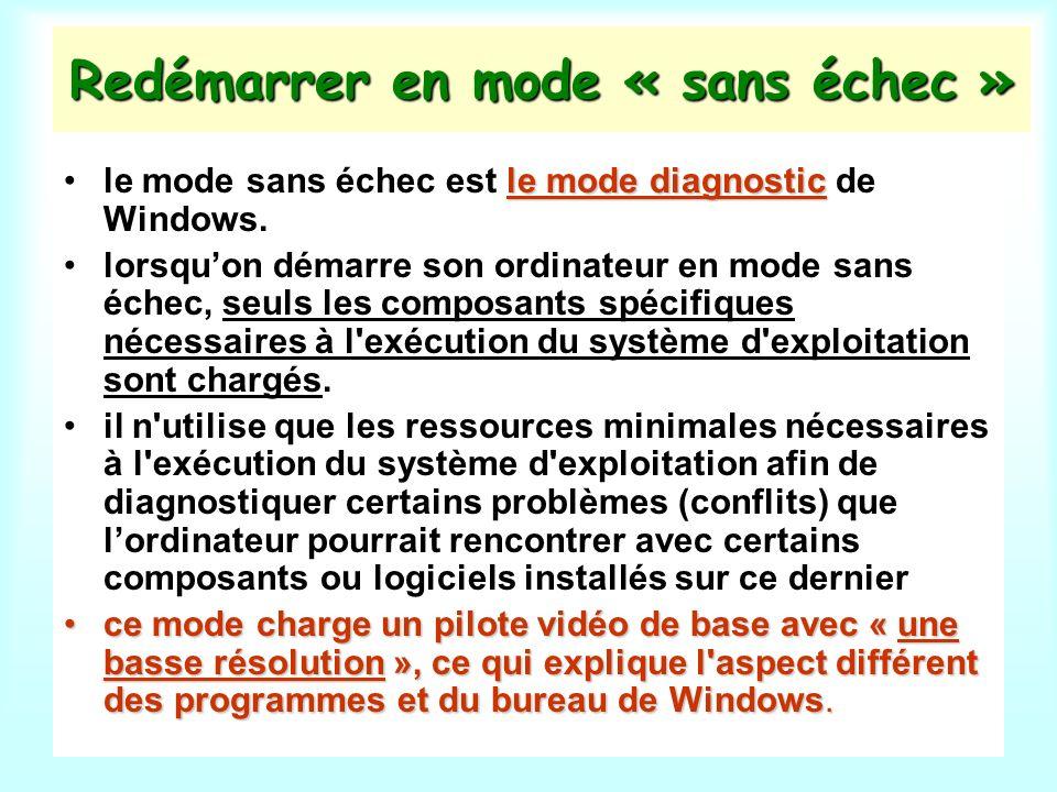 Redémarrer en mode « sans échec » le mode diagnosticle mode sans échec est le mode diagnostic de Windows.