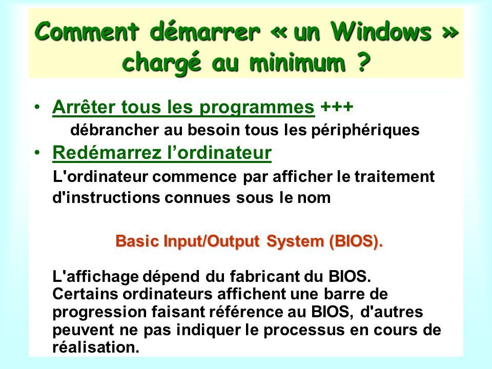 Comment démarrer « un Windows » chargé au minimum .