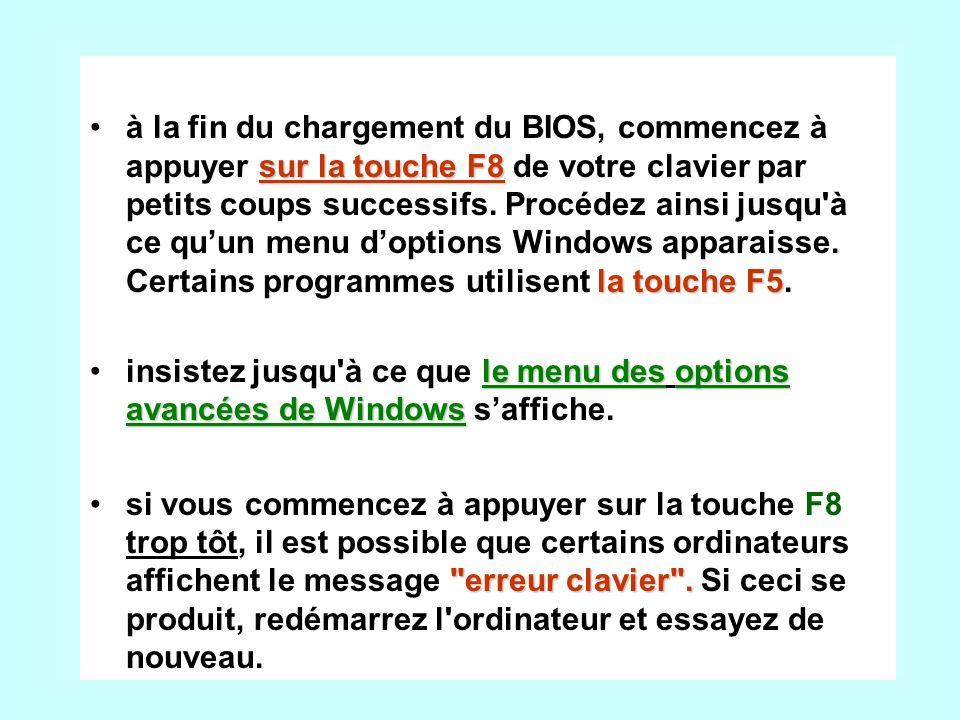 sur la touche F8 la touche F5à la fin du chargement du BIOS, commencez à appuyer sur la touche F8 de votre clavier par petits coups successifs.