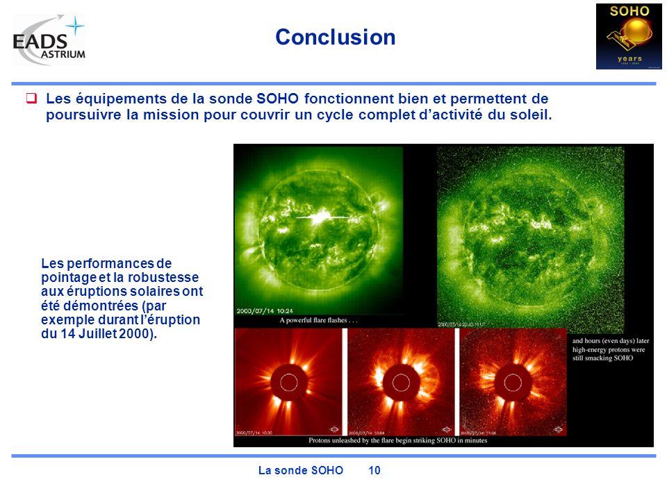 La sonde SOHO 10 Conclusion Les équipements de la sonde SOHO fonctionnent bien et permettent de poursuivre la mission pour couvrir un cycle complet dactivité du soleil.