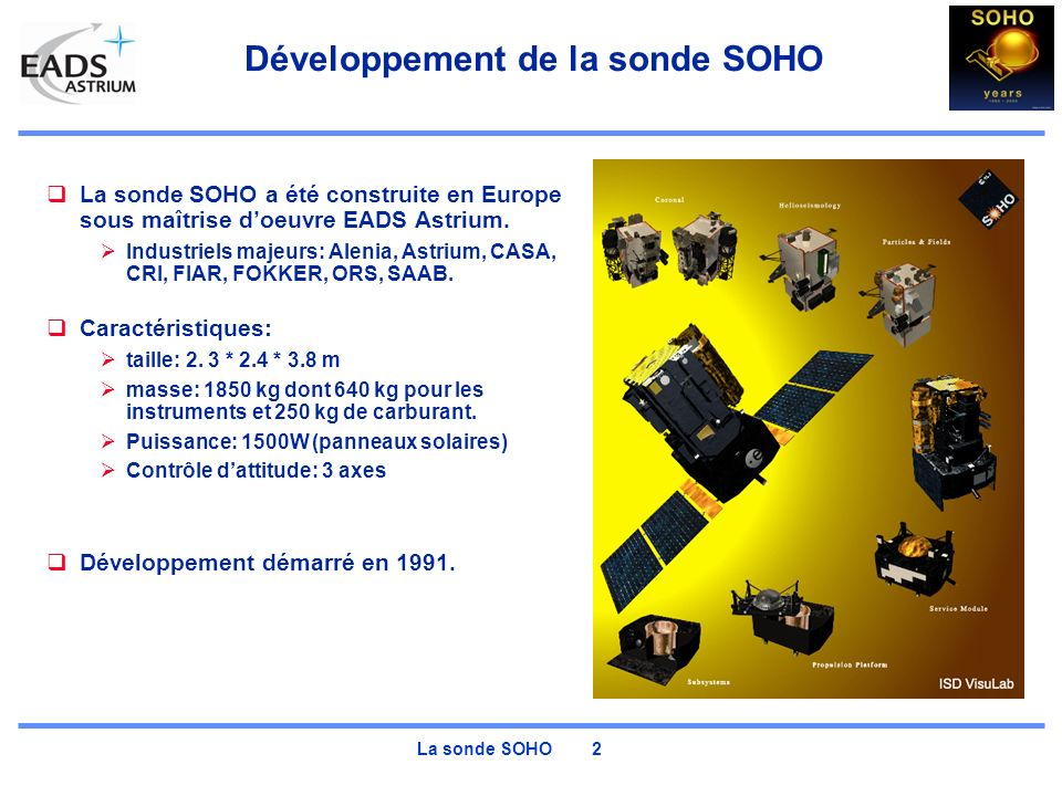 La sonde SOHO 2 Développement de la sonde SOHO La sonde SOHO a été construite en Europe sous maîtrise doeuvre EADS Astrium. Industriels majeurs: Aleni